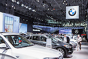 New York, NY, USA-23 March 2016. German automakers BMW and Mercedes had adjoining displays at the New York Auto Show.