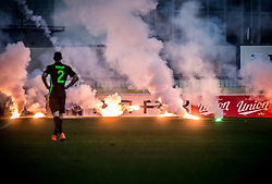 Fireworks made by Green Dragons, supporters of Olimpija during football match between NK Domzale and NK Olimpija Ljubljana in 24th Round of Prva liga Telekom Slovenije 2016/17, on March 12, 2017 in Sports park, Domzale, Slovenia. Photo by Vid Ponikvar / Sportida