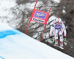 20.01.2011, Tofana, Cortina d Ampezzo, ITA, FIS World Cup Ski Alpin, Lady, Cortina, Abfahrt 2. Training, im Bild Blick von den Tribühnen im Bild Andrea Fischbacher (AUT, #9) // Andrea Fischbacher (AUT) during FIS Ski Worldcup ladies downhill second training at pista Tofana in Cortina d Ampezzo, Italy on 20/1/2011. EXPA Pictures © 2011, PhotoCredit: EXPA/ J. Groder