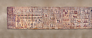 Ancient Egyptian Book of the Dead papyrus - Ptolemaic Period (722-30BC).Turin Egyptian Museum. .<br /> <br /> If you prefer to buy from our ALAMY PHOTO LIBRARY  Collection visit : https://www.alamy.com/portfolio/paul-williams-funkystock/ancient-egyptian-art-artefacts.html  . Type -   Turin   - into the LOWER SEARCH WITHIN GALLERY box. Refine search by adding background colour, subject etc<br /> <br /> Visit our ANCIENT WORLD PHOTO COLLECTIONS for more photos to download or buy as wall art prints https://funkystock.photoshelter.com/gallery-collection/Ancient-World-Art-Antiquities-Historic-Sites-Pictures-Images-of/C00006u26yqSkDOM