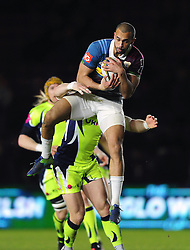 Aaron Morris of Harlequins claims the ball in the air - Mandatory byline: Patrick Khachfe/JMP - 07966 386802 - 03/02/2017 - RUGBY UNION - The Twickenham Stoop - London, England - Harlequins v Sale Sharks - Anglo-Welsh Cup.
