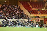 Photo: Andrew Unwin.<br /> <br /> Middlesbrough v Nuneaton Borough. The FA Cup. 17/01/2006.<br /> <br /> The Nuneaton team warm up to a backdrop of away-supporters and empty seats in the home-fan stands.