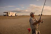 Surf fishing at the South Core Banks in North Carolina