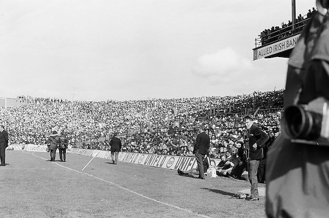 Picture of the pitch and the crowds in the stands during the All Ireland Senior Gaelic Football Championship Final Dublin V Galway at Croke Park on the 22nd September 1974. Dublin 0-14 Galway 1-06.