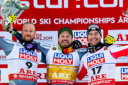 February 9, 2019 - Re, SWEDEN - 190209 Aksel Lund Svindal,  Kjetil Jansrud of Norway and Vincent Kriechmayr of Austria celebrates after the men's downhill during the FIS Alpine World Ski Championships on February 9, 2019 in re..Photo: Joel Marklund / BILDBYRN / kod JM / 87853 (Credit Image: © Joel Marklund/Bildbyran via ZUMA Press)