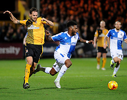 Ellis Harrison of Bristol Rovers is brought down by Greg Taylor of Cambridge United - Mandatory byline: Neil Brookman/JMP - 07966 386802 - 30/10/2015 - FOOTBALL - The Abbey Stadium - Cambridge, England - Cambridge United v Bristol Rovers - Sky Bet League Two