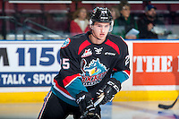 KELOWNA, CANADA - SEPTEMBER 24: Cal Foote #25 of the Kelowna Rockets warms up against the Kamloops Blazers on September 24, 2016 at Prospera Place in Kelowna, British Columbia, Canada.  (Photo by Marissa Baecker/Shoot the Breeze)  *** Local Caption *** Cal Foote;