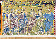 Close up of the 13th century Byzantine Mosaic panel depicting the Apostles on the Basilica of San Frediano, a Romanesque church, Lucca, Tunscany, Italy .<br /> <br /> Visit our BYZANTINE MOSAIC PHOTO COLLECTION for more   photos  to download or buy as prints https://funkystock.photoshelter.com/gallery/Byzantine-Eastern-Roman-Style-Mosaics-Pictures-Images/G0000NvKCna.AoH4/3/C0000YpKXiAHnG2k<br /> If you prefer to buy from our ALAMY PHOTO LIBRARY  Collection visit : https://www.alamy.com/portfolio/paul-williams-funkystock/lucca.html