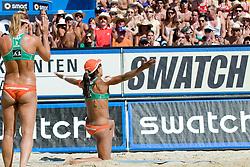 Larissa Franca and Juliana Felisberta Silva of Brazil celebrating big point at A1 Beach Volleyball Grand Slam tournament of Swatch FIVB World Tour 2010, final, on July 31, 2010 in Klagenfurt, Austria. (Photo by Matic Klansek Velej / Sportida)