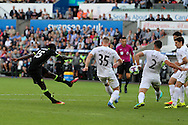 Victor Moses of Chelsea (l) sees his shot at goal go wide.  Premier league match, Swansea city v Chelsea at the Liberty Stadium in Swansea, South Wales on Sunday 11th Sept 2016.<br /> pic by  Andrew Orchard, Andrew Orchard sports photography.