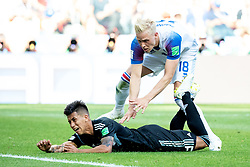 June 16, 2018 - Moscow, Russia - 180616 Hördur Magnusson of Iceland  and Maximiliano Meza of Argentina during the FIFA World Cup group stage match between Argentina and Iceland on June 16, 2018 in Moscow..Photo: Petter Arvidson / BILDBYRÃ…N / kod PA / 92068 (Credit Image: © Petter Arvidson/Bildbyran via ZUMA Press)