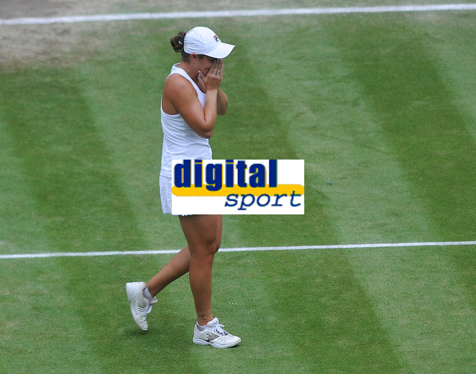 Lawn Tennis - 2021 All England Championships - Woman's Final - Wimbledon<br /> Ashleigh Barty v Karolina Pliskova<br /> <br /> Ashleigh Barty of Australia shows her emotion after winning match point<br /> <br /> <br /> Credit : COLORSPORT/Andrew Cowie