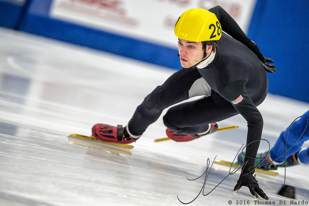 March 18, 2016 - Verona, WI - Adam Callister, skater number 280 competes in US Speedskating Short Track Age Group Nationals and AmCup Final held at the Verona Ice Arena.