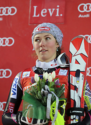 16.11.2013, Levi Black, Levi, FIN, FIS Ski Alpin Weltcup, Levi, Slalom, Damen, Podium, im Bild Mikaela Shiffrin (USA) // Mikaela Shiffrin of the USA celebrate on podium // after ladies Slalom of FIS ski alpine world cup at the Levi Black course in Levi, Finland on 2013/11/16. EXPA Pictures © 2013, PhotoCredit: EXPA/ Gunn/ Takusagawa<br /> <br /> *****ATTENTION - OUT of GBR*****