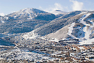 clear winter morning of Park City Utah and surrounding mountains