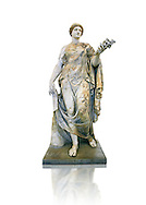 Roman marble sculpture known as the 'Flora Maggiore' , a 2nd century AD, inv no 6409 Farnese Collection, Naples  Museum of Archaeology, Italy ..<br /> <br /> If you prefer to buy from our ALAMY STOCK LIBRARY page at https://www.alamy.com/portfolio/paul-williams-funkystock/greco-roman-sculptures.html . Type -    Naples    - into LOWER SEARCH WITHIN GALLERY box - Refine search by adding a subject, place, background colour, museum etc.<br /> <br /> Visit our ROMAN WORLD PHOTO COLLECTIONS for more photos to download or buy as wall art prints https://funkystock.photoshelter.com/gallery-collection/The-Romans-Art-Artefacts-Antiquities-Historic-Sites-Pictures-Images/C0000r2uLJJo9_s0