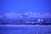 Anchorage at dusk in winter, Alaska<br />