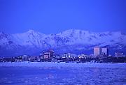 Anchorage at dusk in winter, Alaska<br />