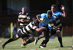 Jamba Ulengo of the Blue Bulls attempts to break the tackle during the Currie Cup premier division match between the Boland Cavaliers and The Blue Bulls held at Boland Stadium, Wellington, South Africa on the 23rd September 2016<br /> <br /> Photo by:   Shaun Roy/ Real Time Images