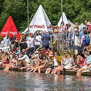 Spectators<br /> <br /> Finals racing day at the Henley Royal Regatta on The Thames river, Henley on Thames, England. Sunday 7 July 2019. © Copyright photo Steve McArthur / www.photosport.nz