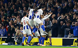 Brighton & Hove Albion's Glenn Murray (right) celebrates scoring his side's first goal of the game during the Premier League match at the AMEX Stadium, Brighton.
