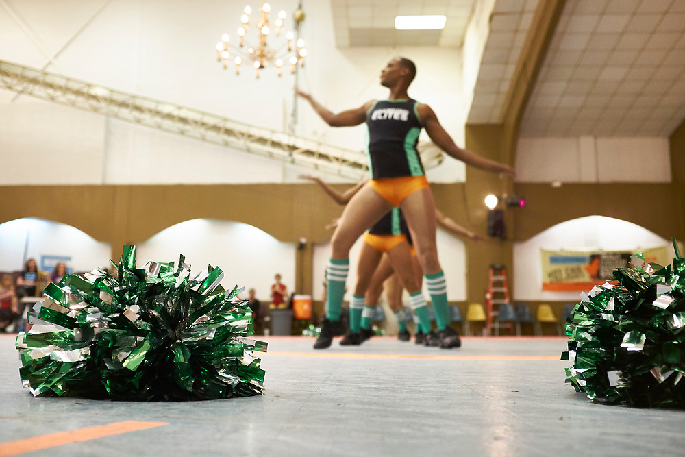 The Prancing Elites provide the half-time show at an Atlanta Rollergirls bout.