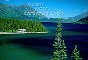 Canada. Yukon Territory. Visitors enjoy Tagish Lake near Carcross.