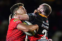 Ollie Lawrence of Worcester Warriors is tackled by Rhys Buckley of Dragons - Mandatory by-line: Craig Thomas/JMP - 02/02/2018 - RUGBY - Rodney Parade - Newport, Gwent, Wales - Dragons v Worcester Warriors - Anglo Welsh Cup