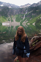 Olivia at Rainy Lake, North Cascades National Park, Washington, US