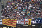 "Fussball: International Friendly, 125 years, Hamburger SV - FC Barcelona 1:2, Hamburg, 24.07.2012<br /> Barcelona-Fans shows a Flag: ""Catalonia is not Spain"", Banner, transparent<br /> © Torsten Helmke"