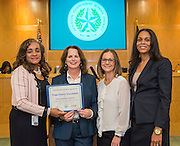 Rhonda Skillern-Jones recognizes the Finger Foundation during a meeting of the Houston ISD Board of Trustees, January 12, 2017.