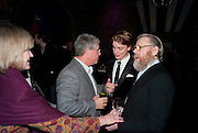 JOANNA DAVID; CAMERON MACKINTOSH; FREDDIE FOX; EDWARD FOX, Party after the opening of 'Flea in her Ear' . The Old Vic. ( John Mortimer write the translation of theplay.) Vinioplois. 14 December 2010. DO NOT ARCHIVE-© Copyright Photograph by Dafydd Jones. 248 Clapham Rd. London SW9 0PZ. Tel 0207 820 0771. www.dafjones.com.