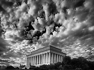 The dramatic sky in this image helps show the majesty of the Lincoln Memorial in Washington, DC. It is a popular destination for visitors to the nation's capital along with the Washington Monument and Washington Mall. This image is available as a fine art print or as a stock images.