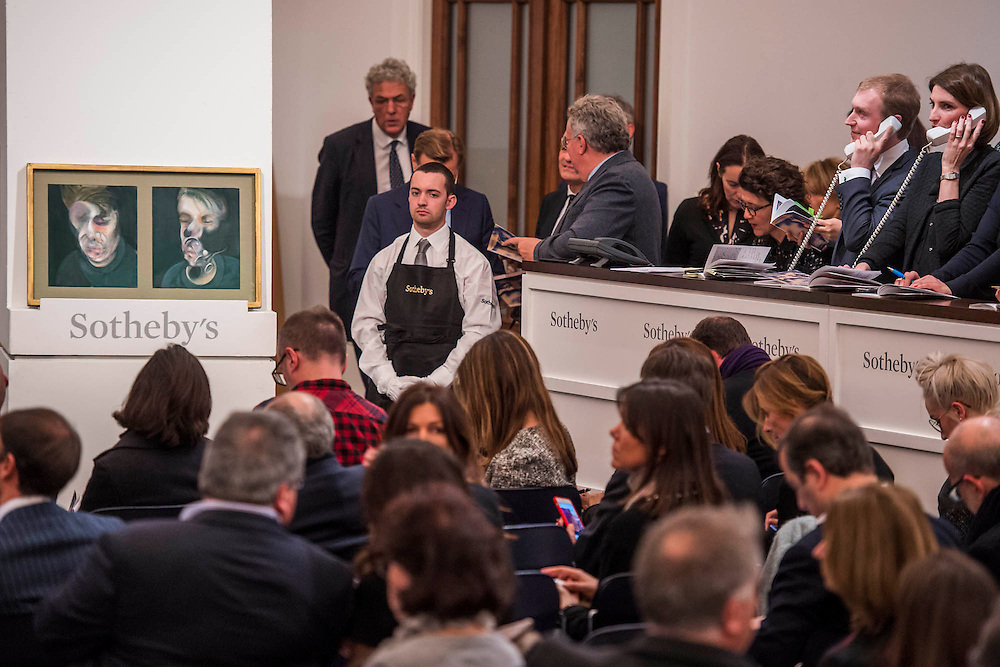Sotheby's sale of post-war and contemporary art - highlights include: a group of works from an Important Swedish Private Collection, including Lucio Fontana's rarely seen masterwork, Concetto Spaziale, Attese (1965) Estimate £5,000,000 — 7,000,000, and Robert Rauschenberg's Untitled (Small oil on canvas #4) (1963) Estimate £800,000 — 1,200,000; s a self- portrait diptych by Francis Bacon from 1977 Estimate £13,000,000 — 18,000,000; a monumental and mesmeric Abstraktes Bild by Gerhard Richter Estimate £14,000,000 — 20,000,000; and works by Cy Twombly, Nicolas de Staël, Yves Klein, Jean-Michel Basquiat and Andy Warhol.
