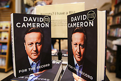 "© Licensed to London News Pictures. 19/09/2019. London, UK. Signed copies of ""For The Record"" - the autobiography of Britain's former Prime Minister David Cameron on display in Waterstones book store in central London. Since his resignation in 2016, David Cameron has remained all-but silent on his time in office. In For the Record he finally breaks that silence. Photo credit: Dinendra Haria/LNP"