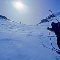 A mountaineer towards the crest of Chile's previously unexplored Cordillera Sarmiento, at the tip of Patagonia's southern icecap (Hielo Sur.)