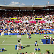 A panoramic image of Venus Williams, USA, receiving her Gold Medal after winning the Women's Singles Tennis at the Tennis Centre at Sydney Olympic Park during the 2000 Sydney Olympic Games...Panoramic images from the Sydney Olympic Games, Sydney, Australia. 2000 . Photo Tim Clayton