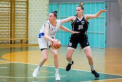 Marusa Senicar of ZKK Triglav Kranj and Tina Cvijanovic of ZKK Maribor during basketball match between ZKK Triglav Kranj and ZKD Maribor in Round #1 of 1. Slovenian Woman basketball league, on February 20, 2018 in ŠD Planina, Kranj, Slovenia. Photo by Ziga Zupan / Sportida