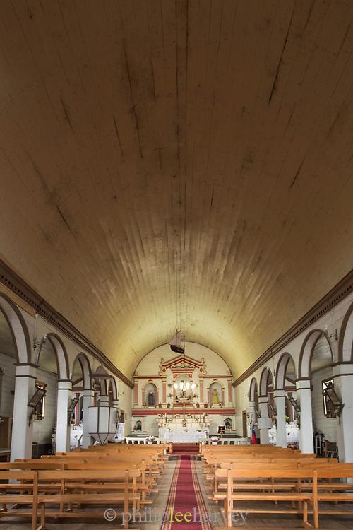 Interior of San Juan Church on Chiloe Island, Chile