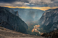 Clouds over Yosemite Valley from North Dome, Yosemite National Park, California