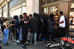 © Licensed to London News Pictures. 15/06/2020. London, UK. Customers enter the NikeTown Store in Regent St as it reopens following a relaxation of Covid-19 rules. Non-essential shops can reopen today following strict government regulations. London, Britain, Jun 15, 2020. (Photo by Ray Tang/Xinhua). Photo credit: Ray Tang/LNP