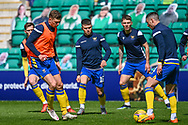 Glenn Middleton (#16) of St Johnstone FC (centre) during the warm up before the SPFL Premiership match between Hibernian and St Johnstone at Easter Road Stadium, Edinburgh, Scotland on 1 May 2021.