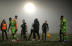 Oldham Athletic manager Harry Kewell praises his team and thanks officials after the game is postponed due to bad weather- Mandatory by-line: Nizaam Jones/JMP - 02/01/2021 - FOOTBALL - innocent New Lawn Stadium - Nailsworth, England - Forest Green Rovers v Oldham Athletic - Sky Bet League Two