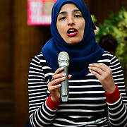 Speaker Nahella Ashraf, Longstanding antiracist and women's rights activist from Manchester of the  Stand Up To Racism  hosts Challenging the hostile environment and racism will democracy breaking its own law with Jeremy Corbyn labelling Brexit European  stealing job, Migrant rapist, Muslim terrorists, Muslim Grooming, African/Black is a criminal or rapist, Chinese the #coronavirus and let the refugees drown at Islington Town Hall on 6 March 2020, London, UK.