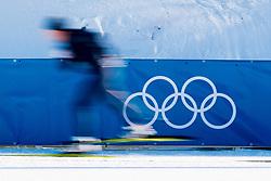 February 5, 2018 - Pyeongchang, SOUTH KOREA - 180205 An athlete skis by the Olympic Rings at Alpensia Cross-Country Centre ahead of the 2018 Winter Olympics on February 5, 2018 in Pyeongchang..Photo: Jon Olav Nesvold / BILDBYRN / kod JE / 160137 (Credit Image: © Jon Olav Nesvold/Bildbyran via ZUMA Press)
