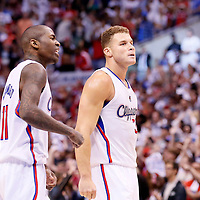 11 May 2014: Los Angeles Clippers forward Blake Griffin (32) celebrates next to Los Angeles Clippers guard Jamal Crawford (11) during the Los Angeles Clippers 101-99 victory over the Oklahoma City Thunder, during Game Four of the Western Conference Semifinals of the NBA Playoffs, at the Staples Center, Los Angeles, California, USA.
