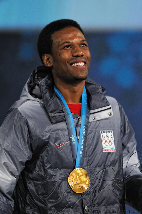 February 17, 2009 - 2010 Winter Olympics - Speedskating - Shani Davis celebrates his Gold medal performance in the 1000m distance during the awards ceremony held at BC Place.