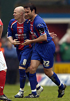 Photo: Olly Greenwood.<br />Crystal Palace v Crewe Alexander. Coca Cola Championship. 15/04/2006. Crystal Palace's Andrew Johnson celebrates scoring with Marco Reich.