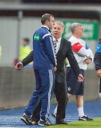 Rangers manager Ally McCoist. Falkirk 0 v 2 Rangers, Scottish Championship game played 15/8/2014 at The Falkirk Stadium.