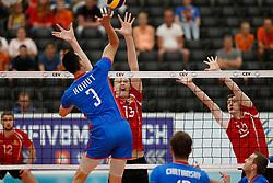 20170525 NED: 2018 FIVB Volleyball World Championship qualification, Koog aan de Zaan<br />Emanuel Kohut (3) of Slovakia, Vasile Talpa (13) of Republic of Moldova, Dimitrii Bahov (16) of Republic of Moldova <br />©2017-FotoHoogendoorn.nl / Pim Waslander
